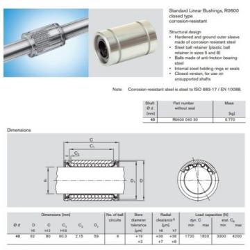 Linear Bearing / Bushing 40 x 62 x 80 mm Bosch Rexroth R060004030 KB40 Origin