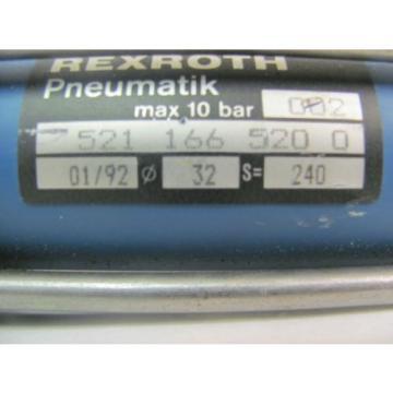 "REXROTH Canada china 521 166 520 0 PNEUMATIK AIR CYLINDER MAX 10 BAR APPROX 9"" STROKE"