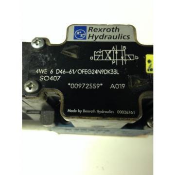 REXROTH HYDRAULICS 4WE6D46-61/OFEG24N9DK33L SO407 SOLENOID VALVE USED U4