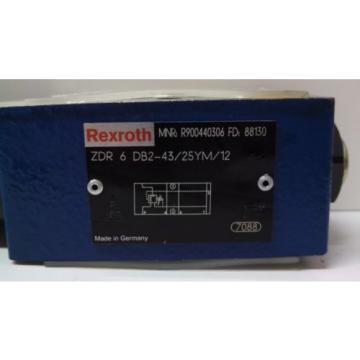 NOS REXROTH HYDRAULIC DIRECTIONAL VALVE ZDR6DB2-43/25YM/12 R900440306