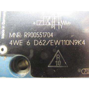 REXROTH R9000551704 4WE 6 D62/EW110N9K4 Directional Control Valve