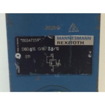 Origin OLD STOCK MANNESMANN REXROTH HYDRAULIC VALVE 00347259 DBDS15 G18/25/12