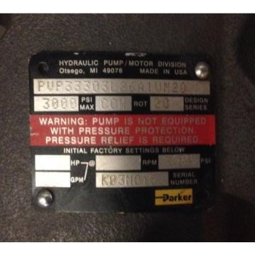 PARKER DENISON HYDRAULIC VARIABLE VOLUME PISTON PUMP PVP33303L26A1VM20 3000PSI