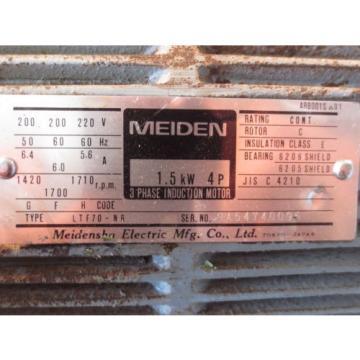 MEIDENSHA MEDEN MOTOR LTF70-NR NACHI PUMP VDR-1B-1A2-11 UVD-1A-A2-15-4-13