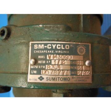 SM CYCLO SUMITOMO TC F 3 PHASE INDUCTION MOTOR 3 HP CNHM3 4105YA 8 GEAR REDUCER
