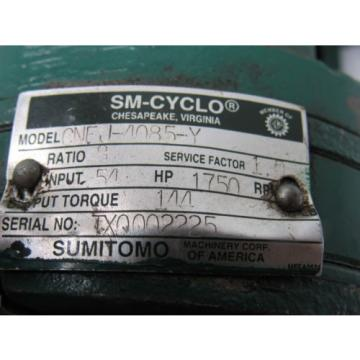 Sumitomo SM-Cyclo CNFJ-4085-Y 3/4HP Gear Motor 21:1 Ratio 208-230/460V 3Ph