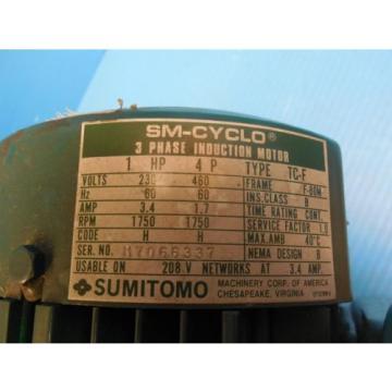 SUMITOMO RMH1-50RY AC GEAR BOX amp; MOTOR CLASS I MOTOR HP 1 RATIO 80 RPM 219