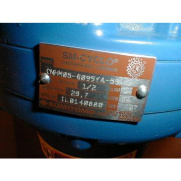 Sumitomo SM-CYCLO CNHM05-6095YA-59 Gear Reducer with TYPE TC-FX 1/2 HP Motor