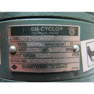 Sumitomo SM-Cyclo CNHJ-4105Y-11 Inline Gear Reducer 11:1 Ratio 301 Hp