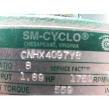 Sumitomo SM-Cyclo CNHX4097Y8 Inline Gear Reducer 8:1 Ratio 189 Hp 1750RPM