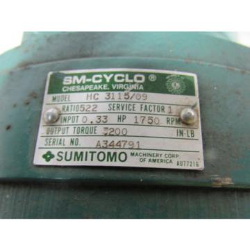 Sumitomo SM-Cyclo HC 3115/09 Inline Gear Reducer 522:1 Ratio 033 Hp