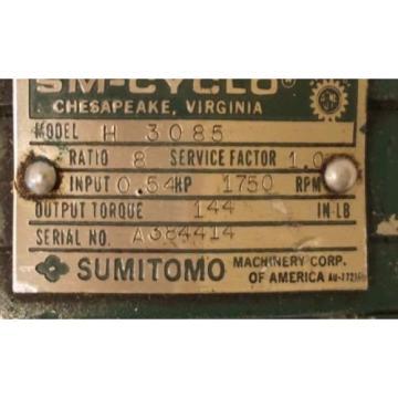 SUMITOMO SM-CYCLO CNH-4085Y-8 GEAR REDUCER RATIO: 8:1, RPM: 1750, CNH4085Y8