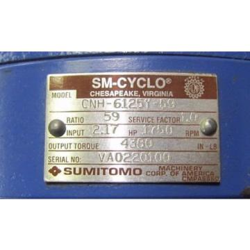 SUMITOMO CNH-6125Y-59 SM-CYCLO 59:1 RATIO WORM GEAR SPEED REDUCER GEARBOX Origin