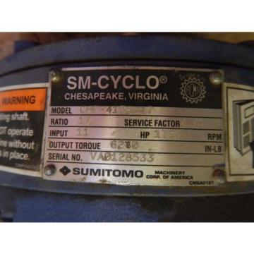 Origin Sumitomo Drive CHF-4135-17 SM-Cyclo Speed Reducer Gearbox 17:1 Ratio 11 HP