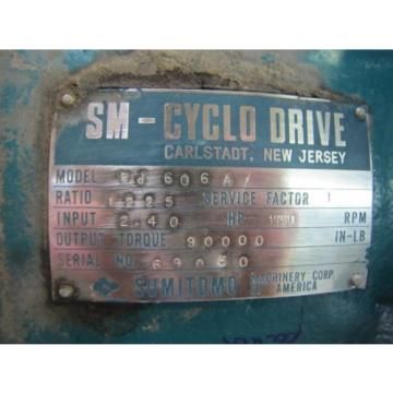 SUMITOMO SM-CYCLO HJ606A GEARBOX SPEED REDUCER 1225:1 RATIO 90000 IN-LB 24HP IN
