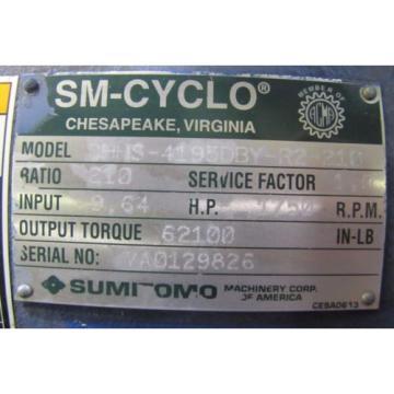 SUMITOMO CHHS-4195DBY-R2-210 SM-CYCLO 210:1 RATIO SPEED REDUCER GEARBOX Origin