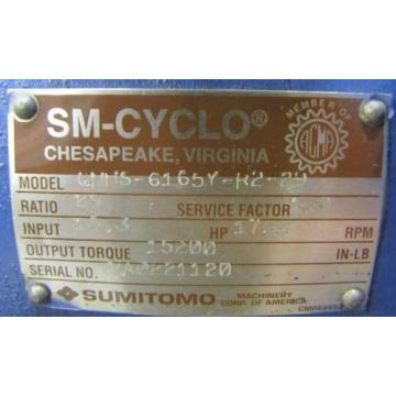SUMITOMO CHHS-6165Y-R2-29 SM-CYCLO 29:1 RATIO SPEED REDUCER GEARBOX REBUILT