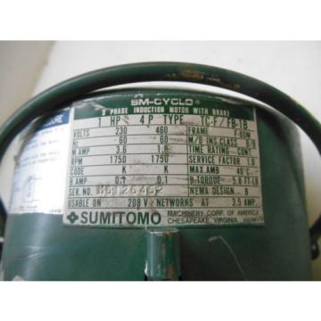 SUMITOMO 1 HP 1750  RPM  230-460V V  60 HZ  3 PH  INDUCTION MOTOR W/ BRAKE  USED
