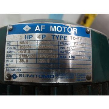 Sumitomo TC-FV CNVMS1-4097YB-AV-21 Motor 1 HP Ratio 21 Frame FA-80N