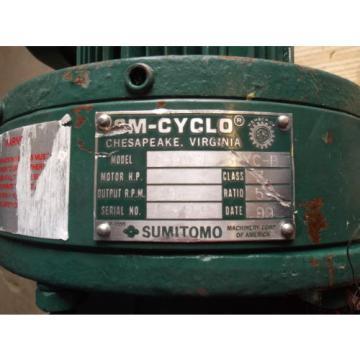 SUMITOMO SM-CYCLO CHHMS14130YC-B GEARMOTOR, RATIO 55, 1 HP, 1750 RPM USED