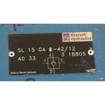 REXROTH SL 15 GA 2-42/12 A0 33, 3 18805 HYDRAULIC CONTROL VALVE 605-371