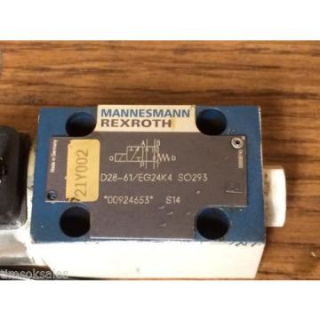 Mannesmann Rexroth 4WE 6 D28-61/EG24K4 SO293 Control Valve, Used WorkIng