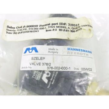 MANNESMANN REXROTH 376-002-000-1 MODEL 376/2 QUICK VENTING VALVE NIB