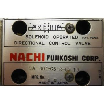 NACHI FUJIKOSHI SOLENOID OPERATED CONTROL HYDRAULIC VALVE SA-G01-C5-R-E1-10
