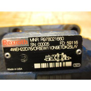 Rexroth 4WEH22D76/OF6EW110N9ETDK25L/V Hydraulic Directional Valve R978021660