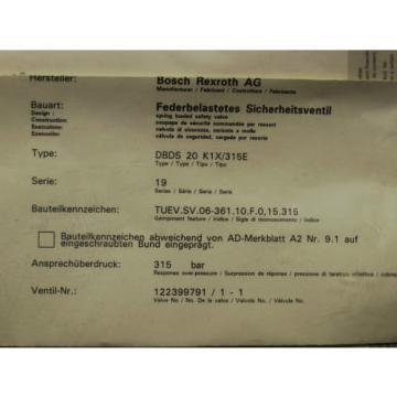 Origin    Rexroth Bosch valve ventil R900424269 / DBDS 20 K1X/315E Invoice